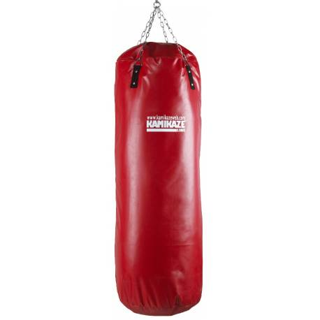 KAMIKAZE punching bag, red PVC, 110 x 40 cm, chains included, not filled