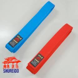 Pack de cintos de competição Shureido vermelho e azul WKF