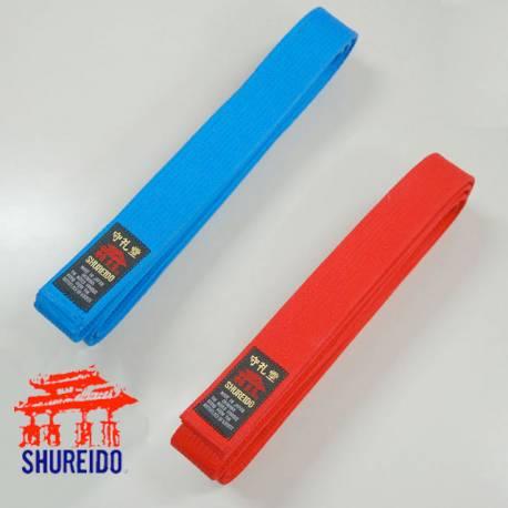 Pack cinturones de competición Shureido rojo y azul WKF