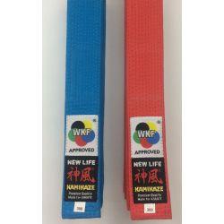 "Cintura da competizione KAMIKAZE KATA ROSSA o BLU ""NEW LIFE Premium"", cotone larghezza speciale, WKF Approved"