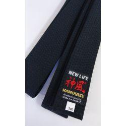 Cinturón negro KAMIKAZE algodón GROSOR ESPECIAL, calidad Premium