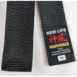 Cinturón negro KAMIKAZE seda-satín GROSOR ESPECIAL, calidad Premium