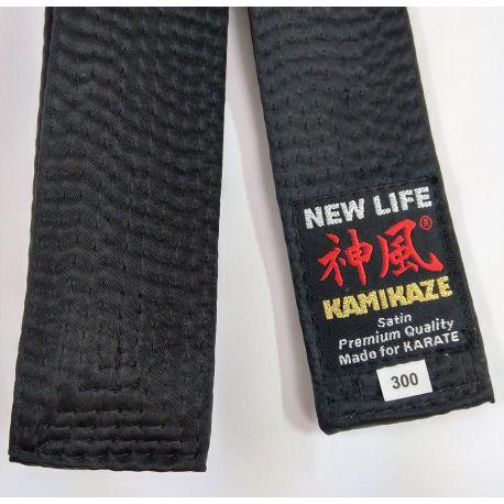 Schwarzgurt KAMIKAZE Satin / Kunstseide EXTRA-DICK, Premium Quality
