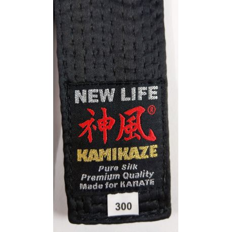 Cinturón negro KAMIKAZE SEDA NATURAL GROSOR ESPECIAL BST, NEW LIFE Premium, con caja