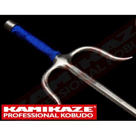 SAI KAMIKAZE PROFESSIONAL KOBUDO, acier inoxydable, octogonal, poignée corde bleu,la paire