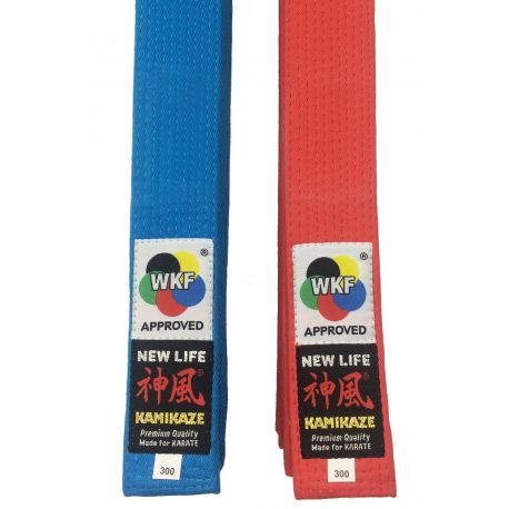 "Pack Rouge & Bleu Ceinture de compétition KAMIKAZE KATA ""NEW LIFE Premium"", coton extra grosse, homologuée WKF Approved"