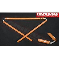 SANSETSUKON KAMIKAZE PROFESSIONAL KOBUDO, with triple cord, hand-made, oak hard wood