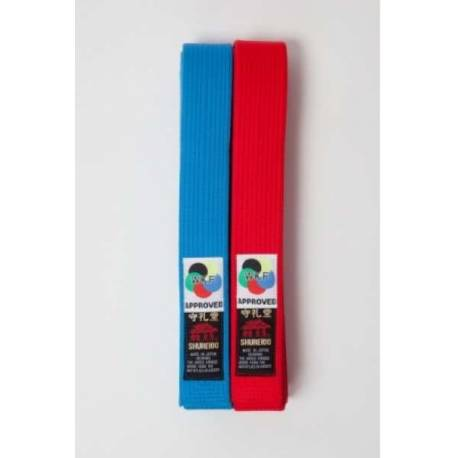 Pack of 2 Shureido belts, special thick for kata competition, red and blue