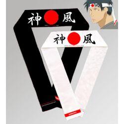 Hachimaki (fita japonesa na testa) Kamikaze - sol nascente, PRETO, 7 x 110 cm