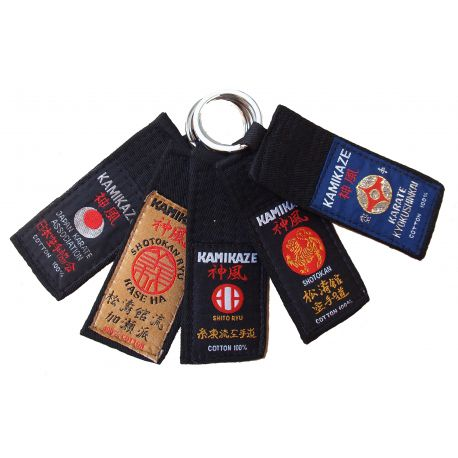 "Kamikaze-keyring ""Black belt"" for dan grades, different style labels"