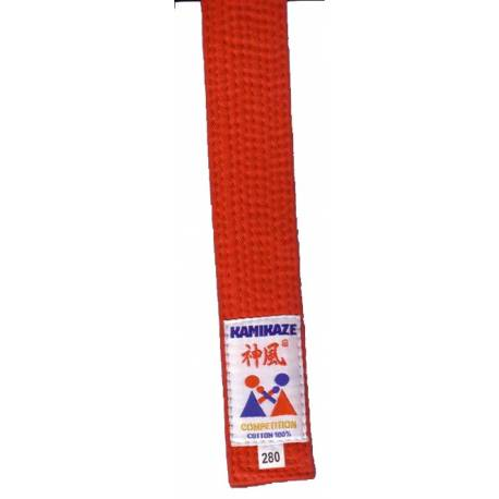 KAMIKAZE competition belt RED color cotton, WKF APPROVED