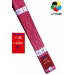 Ceinture compétition Kata Kamikaze WKF Kata-Master en soie-satin, rouge