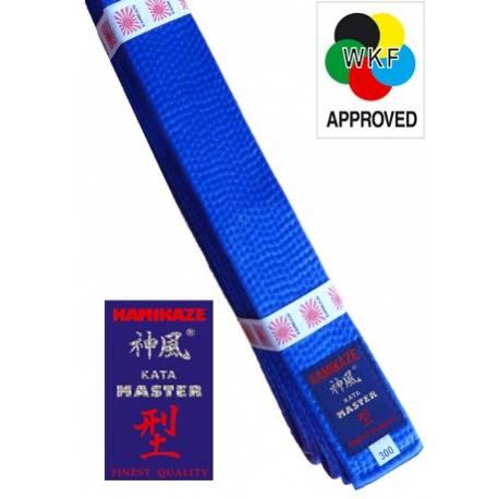 "KAMIKAZE BLUE competition belt ""KATA-MASTER"" SILK-SATIN, WKF APPROVED"