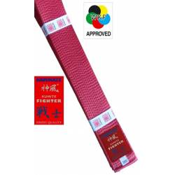 "KAMIKAZE RED competition belt ""KUMITE FIGHTER"" SILK-SATIN, WKF APPROVED"