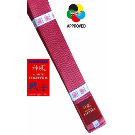 """KAMIKAZE RED competition belt """"KUMITE FIGHTER"""" SILK-SATIN, WKF APPROVED"""