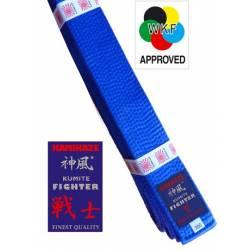 Ceinture compétition Kumite Kamikaze WKF Kumite-Fighter en soie-satin, bleue