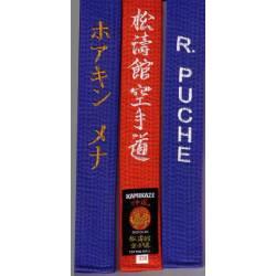 Cintura da competizione KAMIKAZE cottone larghezza speciale BLU ROSSO ricamato