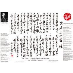 """Pergamena """"I venti precetti"""" del maestro Gichin Funakoshi. Traduzzione allo inglese e spagnolo. A3"""