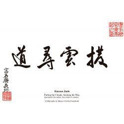 """Parchemin """"Écarter les Nuages"""" du maître Gichin Funakoshi. Avec traduction à l'anglais. A3"""