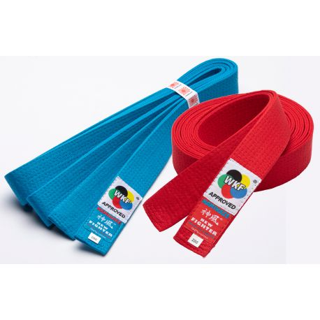 Pack 2 Cinturones KAMIKAZE competición KUMITE: ROJO y AZUL, NEW FIGHTER, WKF APPROVED