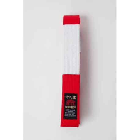 RED & WHITE SPECIAL THICK COTTON BELT SHUREIDO for 6th Dan,