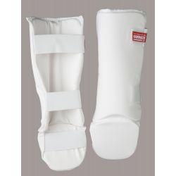 Protège tibia/cheville KAMIKAZE avec protecteur du pied, blanc