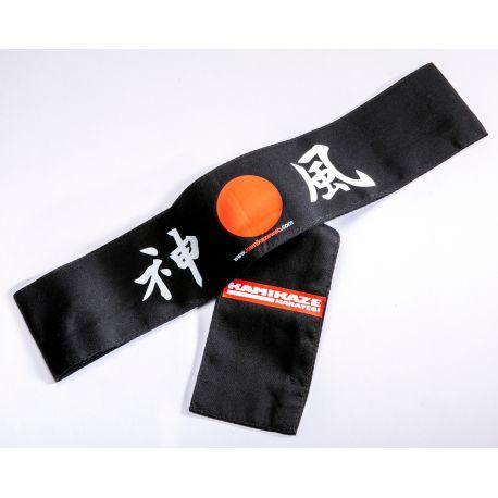 Hachimaki (Cinta japonesa para la frente) Kamikaze - Sol naciente, NEGRA, 7 x 110 cm