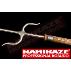 NUNTI BO KAMIKAZE PROFESSIONAL KOBUDO, hecho a mano, roble, Manji Sai de acero inoxidable