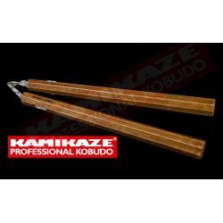 Nunchaku KAMIKAZE PROFESSIONAL KOBUDO, chêne, octagonal, triple corde, fait à la main